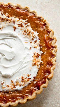 Orange Spice Coconut Pumpkin Pie-- dairy free Dessert For Two, Pie Dessert, Dessert Recipes, Tart Recipes, Sweet Recipes, Cooking Recipes, Just Desserts, Delicious Desserts, Yummy Food