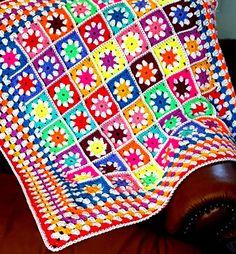 IN STOCK SALE Daisy Granny Squares Vivid Blanket by Thesunroomuk