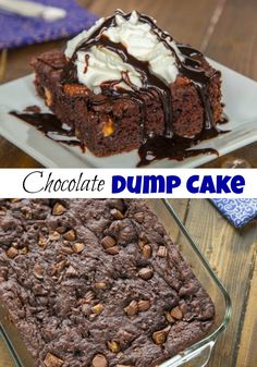 Peanut Butter Cup Dump Cake - Just 4 ingredients come together to make a rich, fudgy, chocolate-y cake studded with lots of peanut butter cups! Dump Cake Recipes, Best Dessert Recipes, Easy Desserts, Delicious Desserts, Homemade Desserts, Recipes Dinner, Pasta Recipes, Crockpot Recipes, Soup Recipes