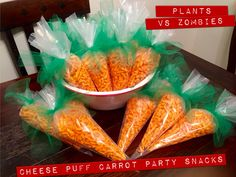 Cheese Puff Carrot Party Snacks. Plants vs Zombies Birthday Party Ideas.