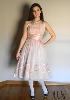 Pink Party Dress Vintage 50's Ribbon Detail / by wishflowervintage, $92.00