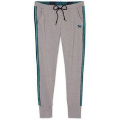 VS Pink Skinny Collegiate Pants Blue and Grey VS skinny collegiate pants/joggers. Grey main color with blue strip. Excellent condition! PINK Victoria's Secret Pants Track Pants & Joggers