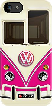 """Pink Volkswagen VW with chrome logo iPhone 5, iphone 4 4s, iPhone 3Gs, iPod Touch 4g case"""