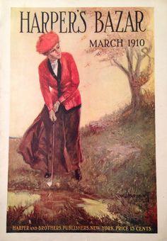 Harper's Bazar Magazine March 1910 Lady Golfer Cover #lorisgolfshoppe