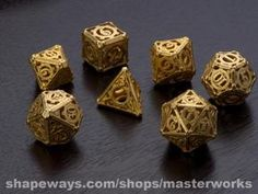 Steampunk dice set.  Would love to see this in a film.  Buy Custom 3D Printed Art - Shapeways 3D Printing