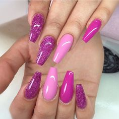 Pink glosses with glitter features on coffin extensions. by thenailbarsydney http://ift.tt/1NRMbNv