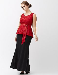 Lela Rose's lily lace top breathes romance into your collection with a flattering peplum silhouette and satin tie belt. Charming scoop neck and buttoned keyhole back, with a slight high-low hem. lanebryant.com