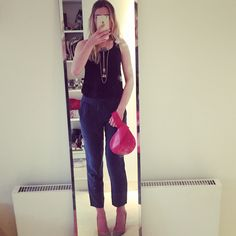 Going out to dinner. Navy Silk trousers: Theory, Nude Suede Heels: Manolo Blahnik, Black Tank: Vince, Necklace: vintage, Bag: Bija #navyandred #style #whatimwearing #bija #bijabags #handbags #fashion #streetstyle