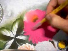 Roniel Coimbra - Crisantemos parte 01 pintura em tecido - YouTube