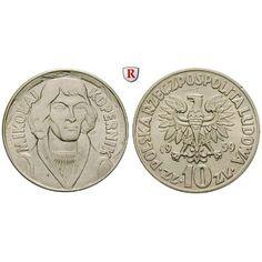 Polen, Volksrepublik, 10 Zlotych 1959, vz: Volksrepublik 1952-1989. Kupfer-Nickel-10 Zlotych 1959. Kopernikus. Parch. 224a;… #coins