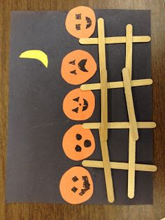 "Here's a simple and cute Halloween craft idea inspired by the famous book, ""Five Little Pumpkins"". Use black paper background, craft stic..."