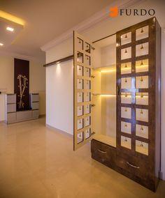 Graceful Puja Unit/Mandir with hanging bells by Furdo Interiors