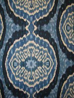 "Masala Denim 146 Duralee fabric cotton linen ikat batik up the roll print. 18"" repeat. 54"" wide"