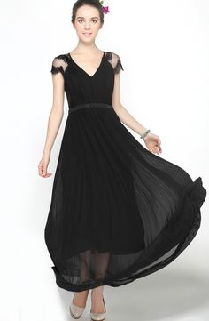 Black V-neck Lace Cap Sleeve Beading Pleated Long Chiffon Dress