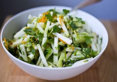Wondering what to do with Kohlrabi? Try this healthy Kohlrabi Slaw with Cilantro and Lime. Crunchy and refreshing, it's vegan and GF! Use whatever sweetener you like in place of the honey in the dressing