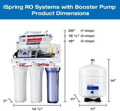 iSpring RCC7P-AK Boosted Performance Under Sink 6-Stage Reverse Osmosis Drinking Filtration System and Ultimate Water Softener with Alkaline Remineralization, and Pump, White.  Reverse Osmosis requires high water pressure to force the impurities out of the water. RCC7P-AK's extremely durable electric booster pump ensures high efficiency, reliable, and consistent performance regardless of pressure variations; delivering the highest performance for an RO system with less waste water.... Water Filtration System, Water Systems, Reverse Osmosis System, Under Sink, Water Filter, Drinking, Stage, Electric, Pumps