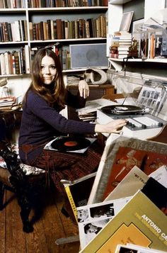 Diana Rigg, c.1966 playing records