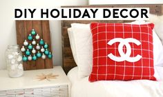 DIY HOLIDAY DECOR! 10 Holiday DIY's You Need To Try! starbucks string lights, christmas tree wall art, wooden snowflakes, chanel plaid pillow