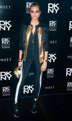 Sports Luxe ☆ Cara Delevingne at the DKNY Artworks Event