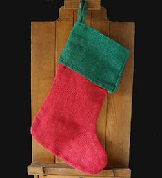 Red jute burlap 17 inch Christmas stocking with Green Cuff. Measures 12 wide (at the bottom), 9 wide (at the top) and 17 inches tall with a 3 inch loop for hanging. Folded top cuff is 9 wide x 6 tall. Made with burlap jute. Burlap Christmas Stockings, Burlap Stockings, All Things Christmas, Christmas Holidays, Victorian Christmas Decorations, Burlap Tablecloth, Santa Stocking, Natural Christmas, Stocking Holders