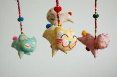 Sweet Smiling Cats with Hand Embroidery Baby Mobile Cute Nursery Decoration