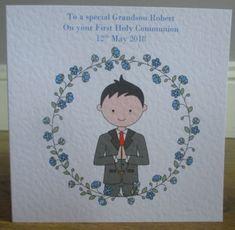Personalised Handmade Boys First Holy Communion Card or Confirmation Blonde Hair
