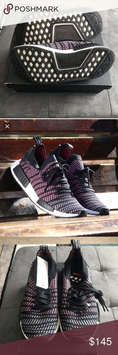 the latest a8a26 52995 Adidas NMD Adidas Sneakers knit fabric black with pink accents New With Box  Womans 6.5 Mens