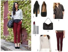 For Fall- polka dot blouse, v-neck, wine trousers with black bag & platforms