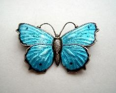 Art Nouveau Silver Enamel Butterfly Brooch by Charles Horner