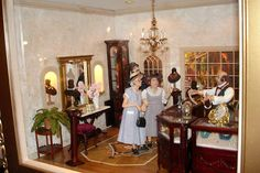 Good Sam Showcase of Miniatures: At the Show - Exhibits room by Cynthia Howe dolls by Marcia Backstrom and Sharon Cariola