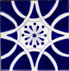 Blue and white. // ceramic tile spanish tile Col 1 6in