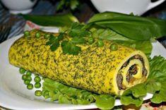 Рулет из омлета с грибами   Ингредиенты   Яйца  — 5 шт.   Молоко — 150 мл   Мука — 1 ст. л.   Укроп    Грибы — 500 гр.   Морковь — 1 шт.   Лук — 1 шт.   Шпинат — 8 листиков   Масло растительное  Соль    Перец черный   Способ приготовления  Шаг 1 Венчиком взбиваем яйца с молоком и муко