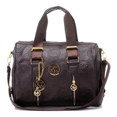 Michael Kors Monogrammed Removable Strap Leather Tote Brown