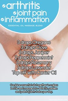 Essential oil massage blend for arthritis joint pain and inflammation. Try this natural treatment using Oregano Clove Juniper Peppermint Rosemary and Lavender. Essential Oils For Massage, Ginger Essential Oil, Essential Oil Uses, Natural Remedies For Arthritis, Essential Oils For Inflammation, Oregano Oil Benefits, Jojoba, Aromatherapy Oils, Herbs