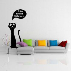 Happy Cat Wall Decal by DeliciousDeals. Fun wall decals about cats to add a whimsy to a space. #catdecals #catquotes #catdecor #funkthishouse