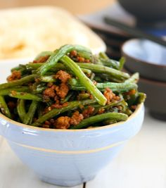 Angie Cooks In Portland: Spicy Chinese Green Beans with Ground Pork..this might be it!