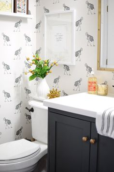 Design*Sponge | Before & After: A Bathroom Gets Dressed Up With Wallpaper