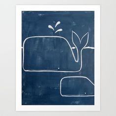 No. 006 - The Whales (Modern Kids & Nursery Art) Art Print by Adriane Duckworth - $22.88