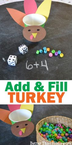 Thanksgiving Addition Game: Add & Fill Turkey Creative Family Fun : Use addition to fill the turkey with this fun Thanksgiving Addition Game for kids. Roll the dice, add the numbers, and fill the turkey. Thanksgiving math addition BetterThanHomework Than Thanksgiving Activities For Kids, Thanksgiving Crafts For Kids, Math For Kids, Kindergarten Thanksgiving, Thanksgiving Turkey, Games For Kids, November Thanksgiving, Family Games, Viria