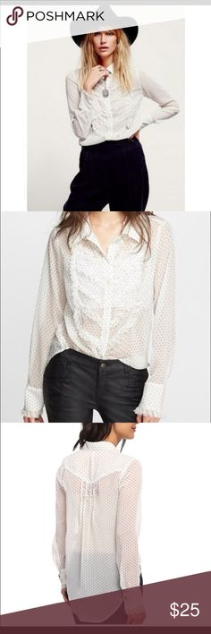 Free People polka dot tux shirt Free People polka dot shirt that can be worn different ways as shown in pictures. Size large in perfect condition Free People Tops Blouses