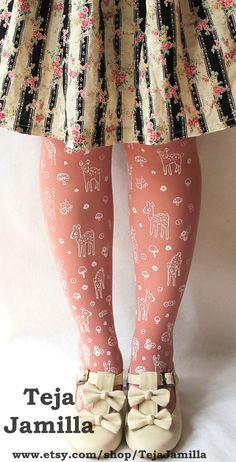 Deer Socks Stockings Knee High Hold Ups Fawn & Mushroom Print Small White on Rose Pink Women Mori Forest