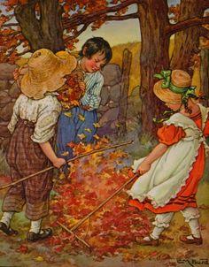 "Illustration By Clara M. Burd From ""A Child's Garden Of Verses, Seasons"" Fine Art Prints, Framed Prints, Canvas Prints, Fall Clip Art, Autumn Trees, Poster Size Prints, Illustrators, Leaves, Seasons"