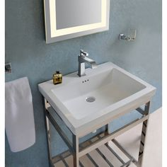 Shop for New South Beach 21 Stainless Steel Open Console with Sink Set. Get free delivery On EVERYTHING* Overstock - Your Online Furniture Outlet Store! Get in rewards with Club O! Best Bathroom Vanities, Single Bathroom Vanity, Small Bathroom, Bathroom Ideas, Basement Bathroom, Single Vanities, Sinks, Console Sink, Contemporary Baths