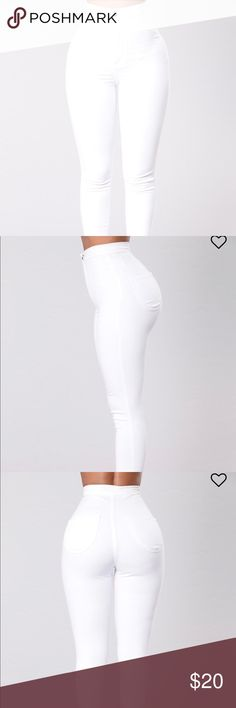 Fashion Nova white jeans White jeans  High waisted  Jean length goes all the way down to the ankles ( They're folded in my picture)  Great fit Overall great material jeans Worn 1 time Fashion Nova Jeans Skinny