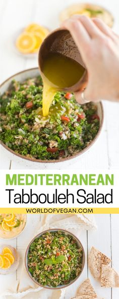 This Vegan Tabbouleh salad is filled with bulgar, tomatoes, olive oil, lemon, salt, and pepper. Herbs like parsley, mint, and onion are also added for extra flavor. When you're craving something cool, fresh, and flavorful, this veggie-filled salad will hit the spot. You'll find this vegan tabbouleh salad a fun way to experience the world of Mediterranean cuisine.