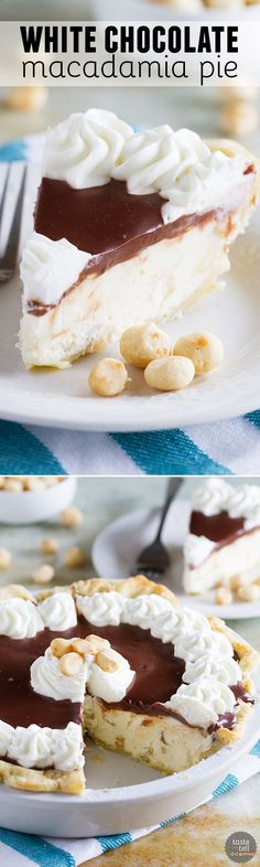 Almost no-bake, this White Chocolate Macadamia Pie is super easy and perfect for white chocolate lovers.