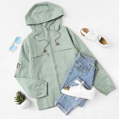 Hooded Drawstring Zip Up Jacket