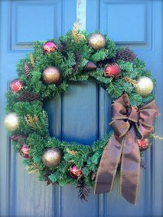 Christmas Wreath Brown and Gold Evergreen by WreathsByRebeccaB