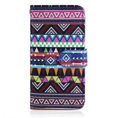 Trendy lederen Aztec tribal flip case voor iPhone 5/5S