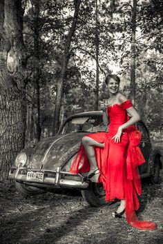 Red wedding dress, old VW bug, and a glass of whiskey. Now *that* is a married woman! (photo by timothy boyd on http://studio-b.smugmug.com/)